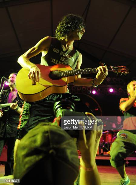 Musician Eugene Hutz of Gogol Bordello performs on stage during Bonnaroo 2011 at The Other Tent on June 11 2011 in Manchester Tennessee