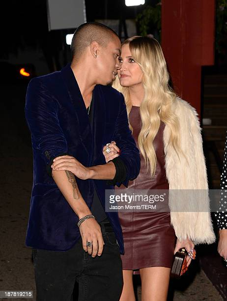 Musician Evan Ross and actress/singer Ashlee Simpson attend the BandFuse Rock Legends video game launch event at House of Blues Sunset Strip on...