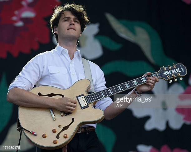 US musician Ezra Koenig lead singer of Vampire Weekend performing on the Pyramid Stage on the fifth day of the Glastonbury Festival of Contemporary...
