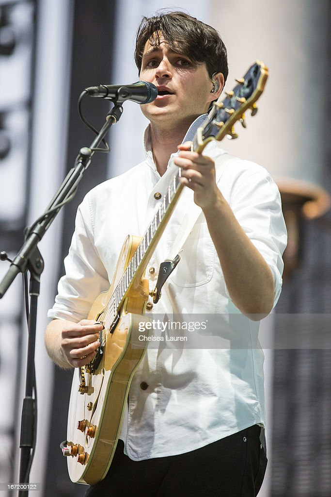Musician <a gi-track='captionPersonalityLinkClicked' href=/galleries/search?phrase=Ezra+Koenig&family=editorial&specificpeople=4958539 ng-click='$event.stopPropagation()'>Ezra Koenig</a> of Vampire Weekend performs during the Coachella Valley Music & Arts Festival at The Empire Polo Club on April 21, 2013 in Indio, California.