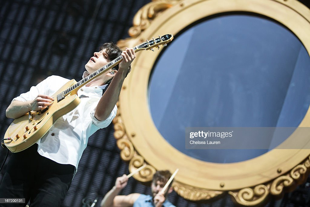 Musician Ezra Koenig of Vampire Weekend performs during the Coachella Valley Music & Arts Festival at The Empire Polo Club on April 21, 2013 in Indio, California.