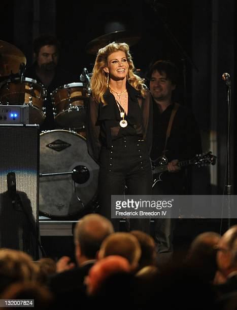 Musician Faith Hill performs during the 45th annual CMA Awards at the Bridgestone Arena on November 9 2011 in Nashville Tennessee