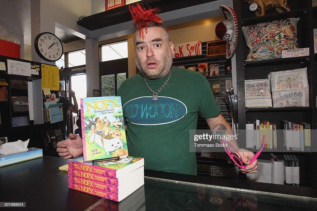 Musician Fat Mike poses during the NOFX book signing for 'NOFX The Hepatitis Bathtub And Other Stories' at Book Soup on April 16 2016 in West...
