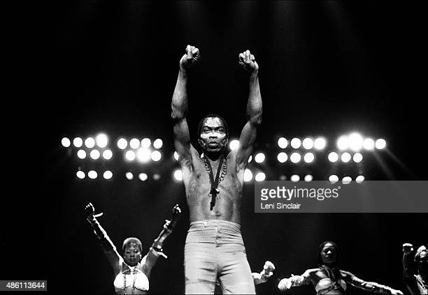 Musician Fela Kuti performs at Orchestra Hall in Detroit Michigan in 1986