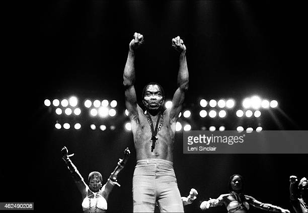 Musician Fela Kuti performs at Orchestra Hall in Detroit Michigan on November 7 1986 in Detroit Michigan