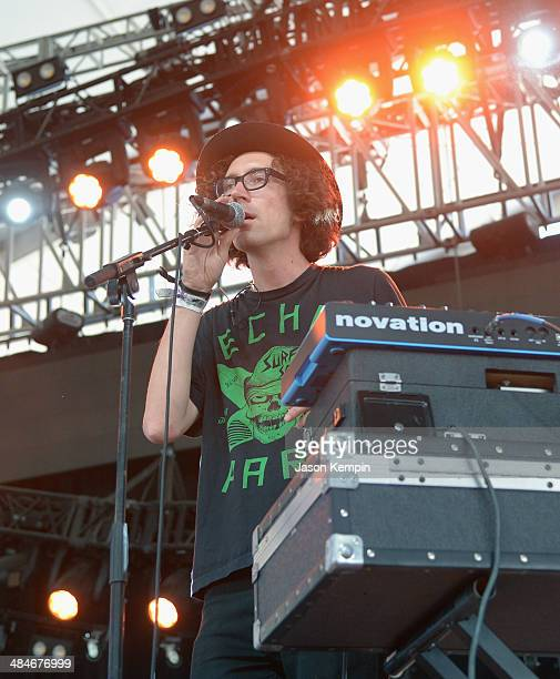 Musician Filip Nikolic of Poolside performs onstage during day 3 of the 2014 Coachella Valley Music Arts Festival at the Empire Polo Club on April 13...