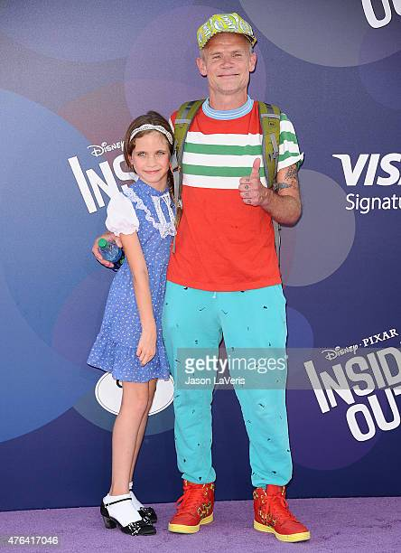 Musician Flea and daughter Sunny Bebop Balzary attend the premiere of 'Inside Out' at the El Capitan Theatre on June 8 2015 in Hollywood California