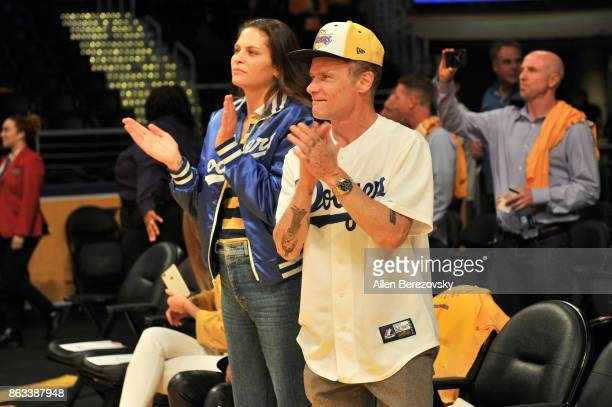 Musician Flea attends a basketball game between the Los Angeles Lakers and the Los Angeles Clippers at Staples Center on October 19 2017 in Los...