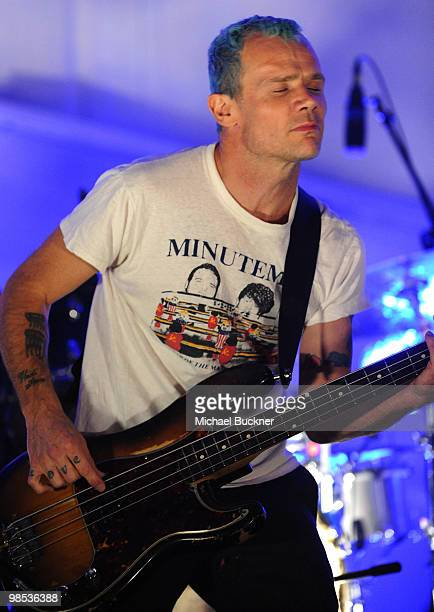 Musician Flea of the band Atoms for Peace performs during day 3 of the Coachella Valley Music Art Festival 2010 held at The Empire Polo Club on April...