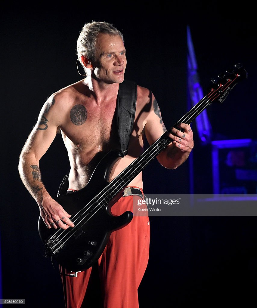 Musician Flea of the Red Hot Chili Peppers performs onstage during the 'Feel The Bern' fundraiser concert to benefit presidential candidate Bernie Sanders at the Ace Theater Downtown LA on February 5, 2016 in Los Angeles, California.