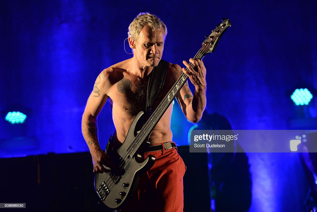 Musician Flea of the Red Hot Chili Peppers performs onstage during the 'Feel the Bern' fundraiser for Presidential candidate Bernie Sanders at Ace Theater Downtown LA on February 5, 2016 in Los Angeles, California.