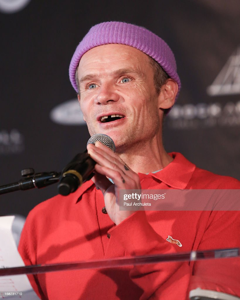 Musician Flea of the rock band Red Hot Chili Peppers attends the announcements for the 2013 inductees to the 28th annual Rock And Roll Hall of Fame induction ceremony at Nokia Theatre LA Live on December 11, 2012 in Los Angeles, California.