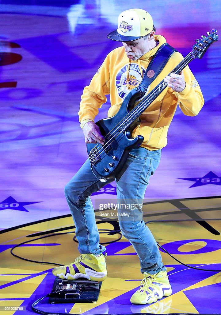 Musician Flea performs the national anthem before the Los Angeles Lakers take on the Utah Jazz at Staples Center on April 13 2016 in Los Angeles...