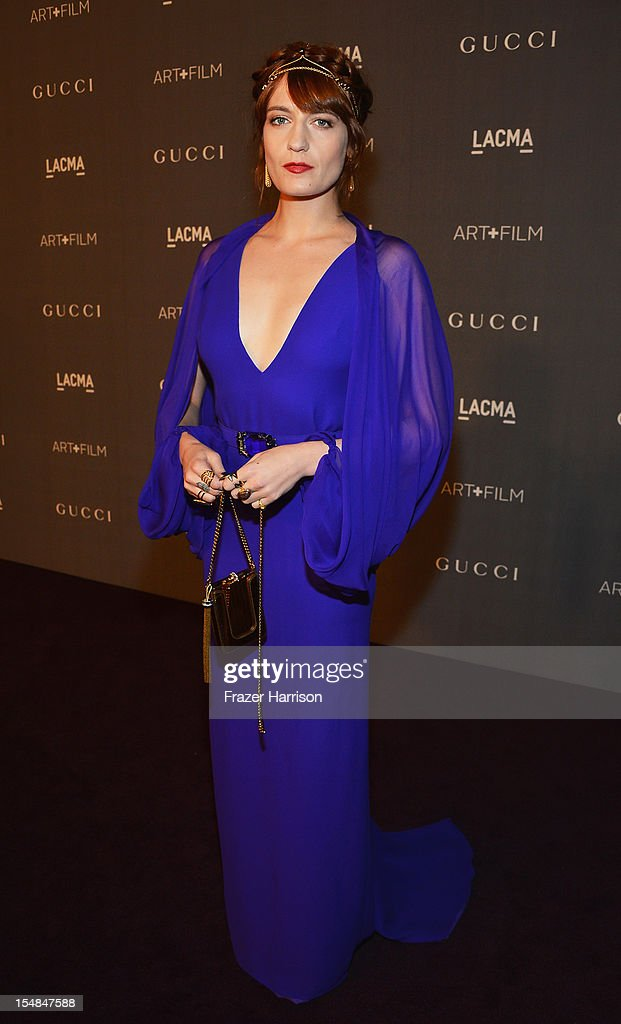 Musician Florence Welch arrives at LACMA 2012 Art + Film Gala Honoring Ed Ruscha and Stanley Kubrick presented by Gucci at LACMA on October 27, 2012 in Los Angeles, California.
