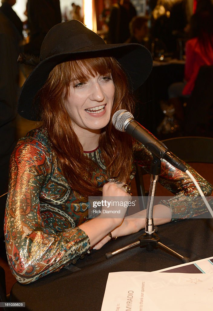 Musician Florence Welch is interviewed at the GRAMMYs Dial Global Radio Remotes during The 55th Annual GRAMMY Awards at the STAPLES Center on February 8, 2013 in Los Angeles, California.