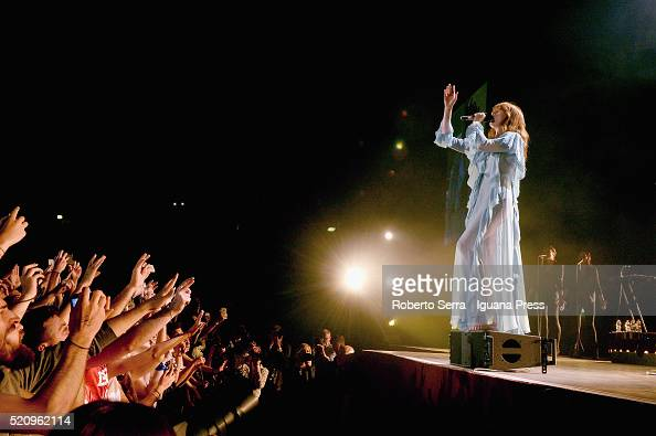 Musician Florence Welch of Florence The Machine performs in concert at Unipol Arena on April 13 2016 in Bologna Italy