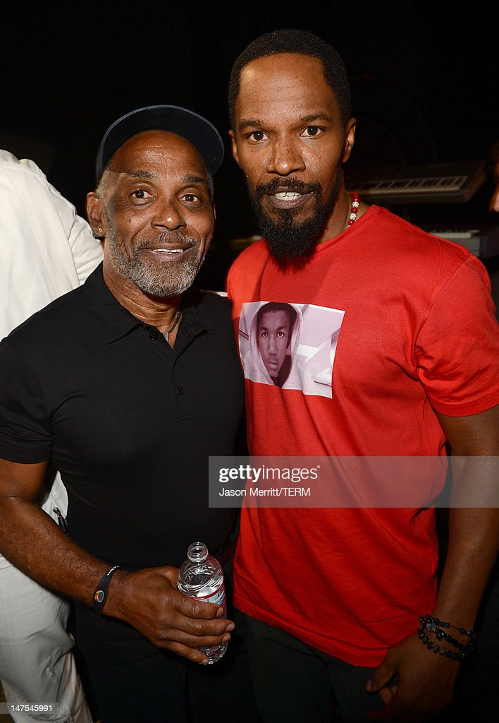 Musician <a gi-track='captionPersonalityLinkClicked' href=/galleries/search?phrase=Frankie+Beverly&family=editorial&specificpeople=783073 ng-click='$event.stopPropagation()'>Frankie Beverly</a> and Actor <a gi-track='captionPersonalityLinkClicked' href=/galleries/search?phrase=Jamie+Foxx&family=editorial&specificpeople=201715 ng-click='$event.stopPropagation()'>Jamie Foxx</a> attend the 2012 BET Awards at The Shrine Auditorium on July 1, 2012 in Los Angeles, California.