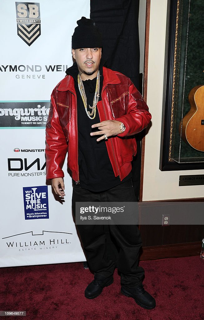 Musician <a gi-track='captionPersonalityLinkClicked' href=/galleries/search?phrase=French+Montana&family=editorial&specificpeople=7131467 ng-click='$event.stopPropagation()'>French Montana</a> attends The VH1 Save The Music Foundation's 'Songwriter Music Series' With Swizz Beats at Hard Rock Cafe - Times Square on January 17, 2013 in New York City.
