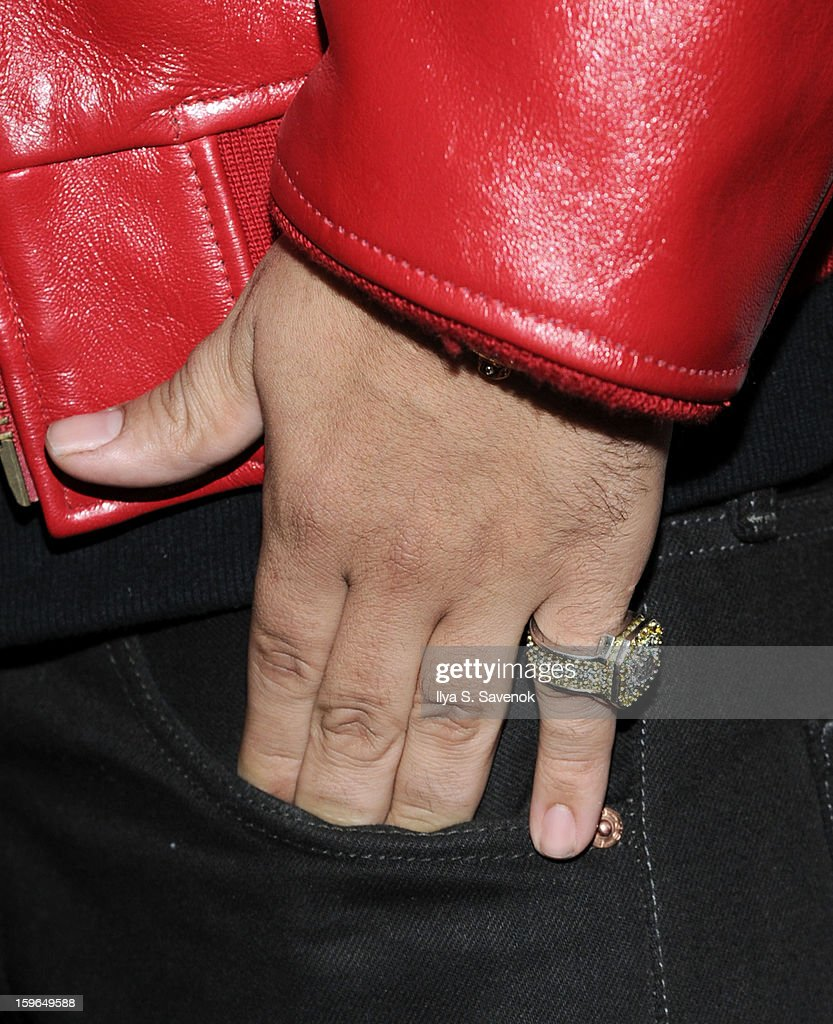 Musician French Montana (ring detail) attends The VH1 Save The Music Foundation's 'Songwriter Music Series' With Swizz Beats at Hard Rock Cafe - Times Square on January 17, 2013 in New York City.