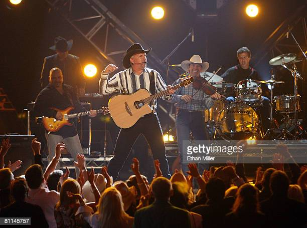 Musician Garth Brooks performs onstage during the 43rd annual Academy Of Country Music Awards held at the MGM Grand Garden Arena on May 18 2008 in...
