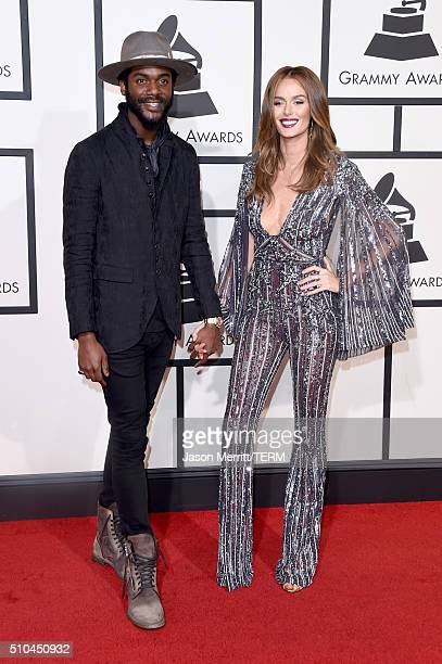 Musician Gary Clark Jr and model Nicole Trunfio attend The 58th GRAMMY Awards at Staples Center on February 15 2016 in Los Angeles California