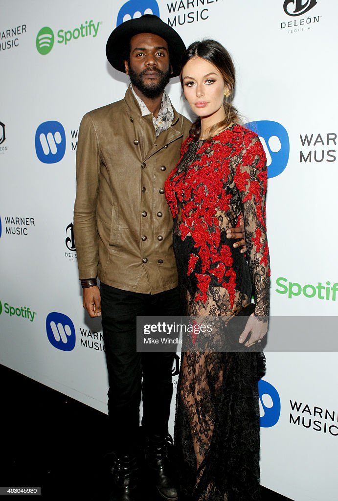 Musician Gary Clark Jr. (L) and model Nicole Trunfio attend the Warner Music Group annual Grammy celebration at Chateau Marmont on February 8, 2015 in Los Angeles, California.