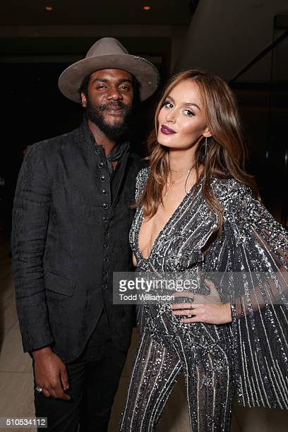 Musician Gary Clark Jr and model Nicole Trunfio attend Warner Music Groups' annual Grammy celebration at Milk Studios Los Angeles on February 15 2016...