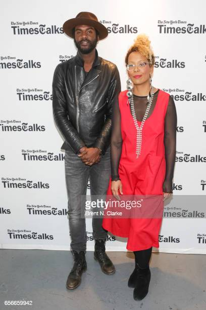 Musician Gary Clark Jr and moderator Jenna Wortham attend TimesTalks held at TheTimesCenter on March 22 2017 in New York City