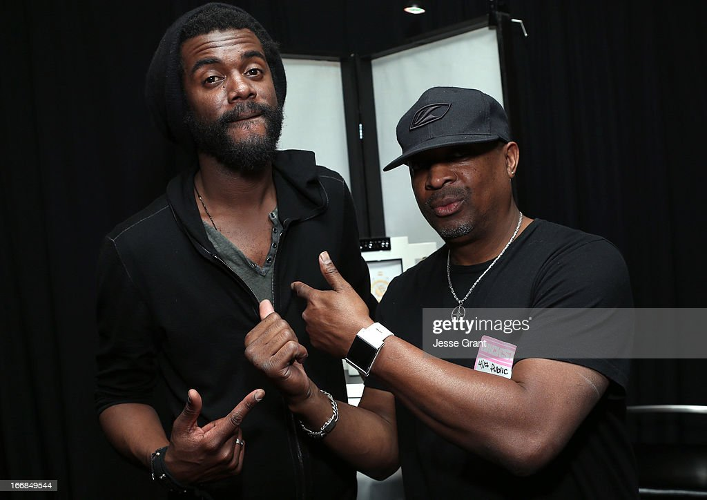 Musician Gary Clark Jr. (L) and rapper Chuck D attend the Gift Lounge at the 28th Rock and Roll Hall of Fame Induction Ceremony presented by I Can't Believe It's Not Butter! 'Breakfast After Dark' produced by On 3 Productions at Nokia Theatre L.A. Live on April 17, 2013 in Los Angeles, California.