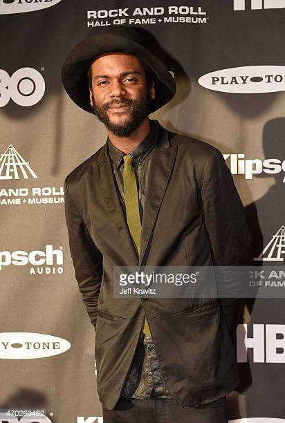 Musician Gary Clark Jr attends the 30th Annual Rock And Roll Hall Of Fame Induction Ceremony at Public Hall on April 18 2015 in Cleveland Ohio