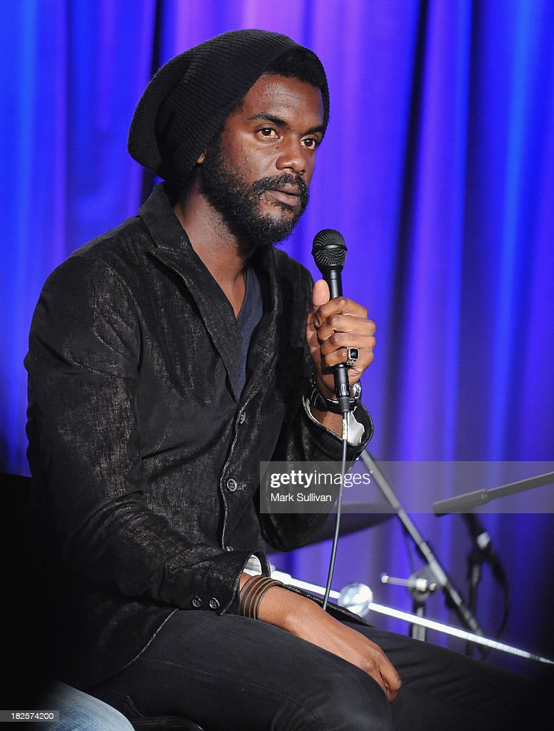 Musician Gary Clark Jr. onstage during An Evening With Gary Clark Jr. at The GRAMMY Museum on September 30, 2013 in Los Angeles, California.