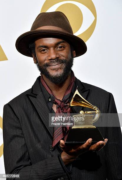 Musician Gary Clark Jr winner of Best Traditional RB Performance for 'Please Come Home' poses in the press room during the 56th GRAMMY Awards at...
