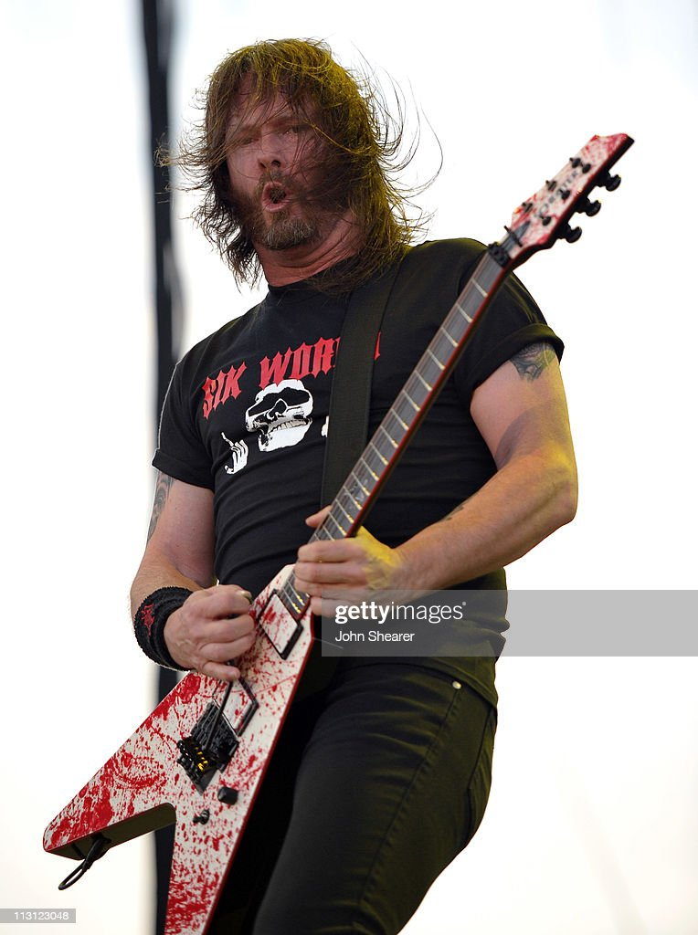 Musician <a gi-track='captionPersonalityLinkClicked' href=/galleries/search?phrase=Gary+Holt+-+Musician&family=editorial&specificpeople=15005307 ng-click='$event.stopPropagation()'>Gary Holt</a> performs with Slayer onstage during The Big 4 held at the Empire Polo Club on April 23, 2011 in Indio, California.