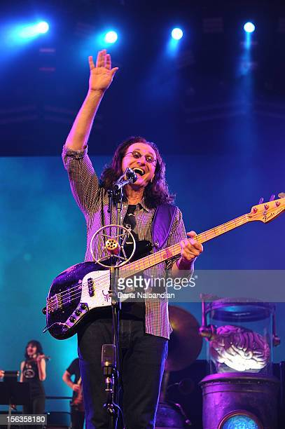 Musician Geddy Lee of Rush performs at Key Arena on November 13 2012 in Seattle Washington