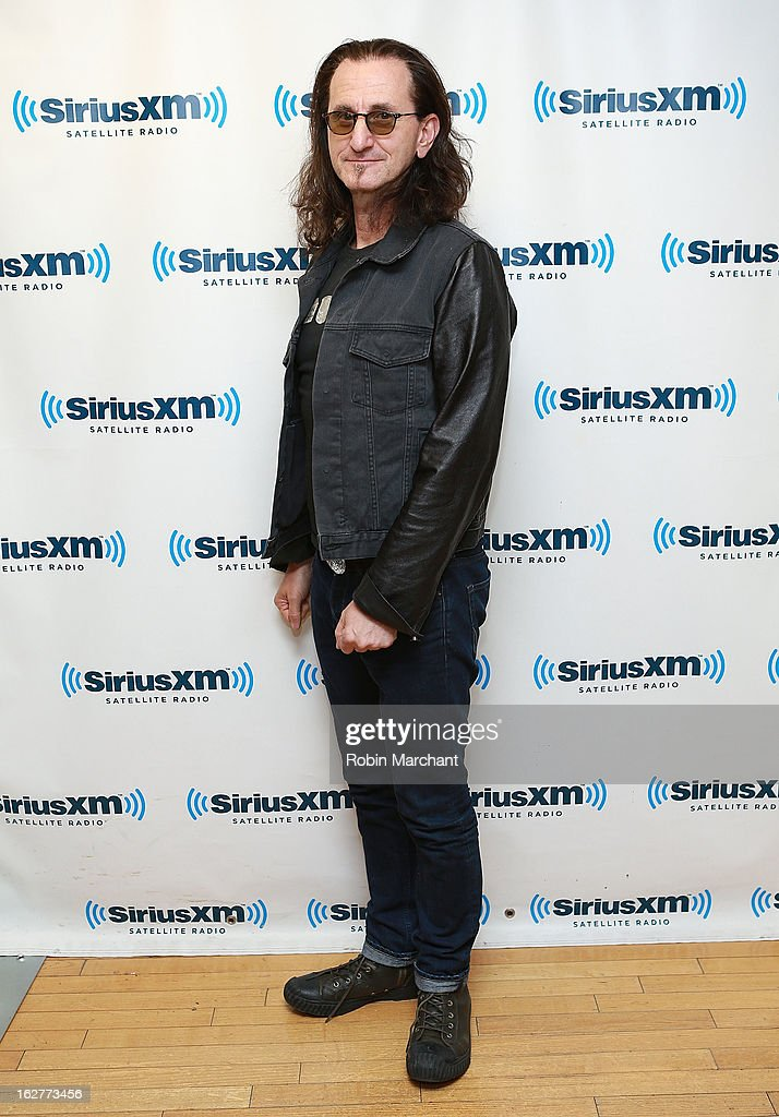 Musician <a gi-track='captionPersonalityLinkClicked' href=/galleries/search?phrase=Geddy+Lee&family=editorial&specificpeople=212809 ng-click='$event.stopPropagation()'>Geddy Lee</a> of Rush visits at the SiriusXM Studios on February 26, 2013 in New York City.