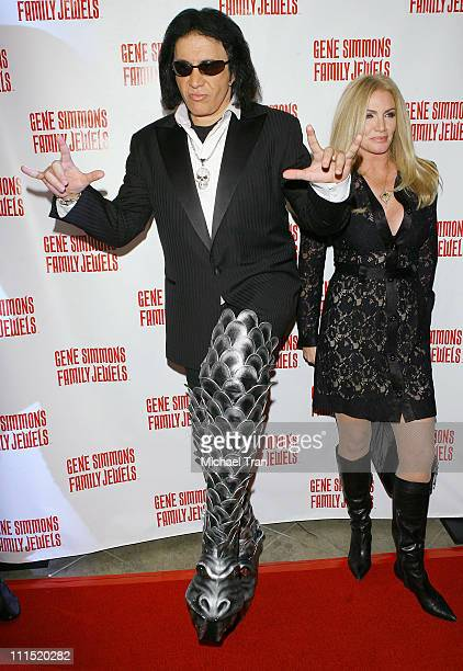 Musician Gene Simmons and actress Shannon Tweed arrives at the Gene Simmons Roast held at the Key Club on November 27 2007 in West Hollywood...