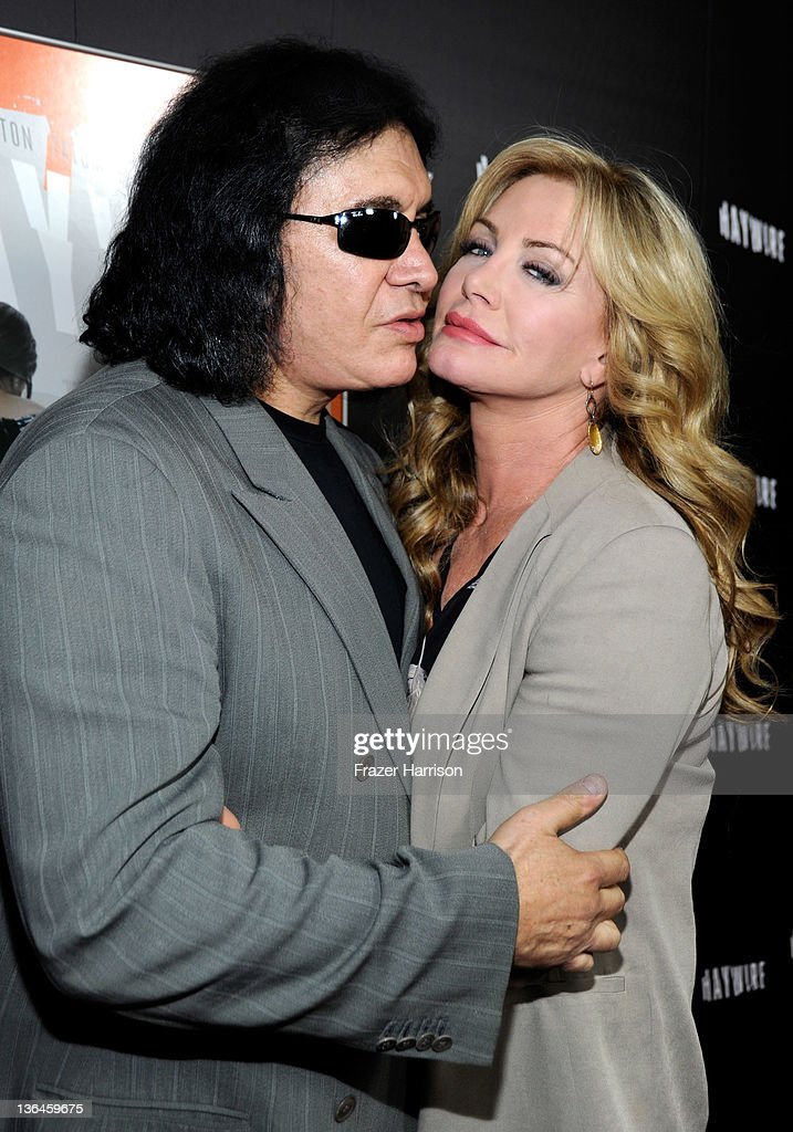 Musician Gene Simmons and Shannon Tweed arrive at Relativity Media's premiere of 'Haywire' cohosted by Playboy held at DGA Theater on January 5 2012...
