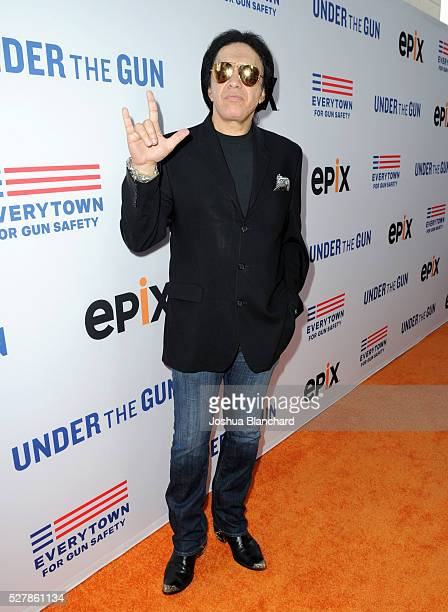 Musician Gene Simmons attends the 'Under The Gun' LA premiere featuring Katie Couric and Stephanie Soechtig at Samuel Goldwyn Theater on May 3 2016...