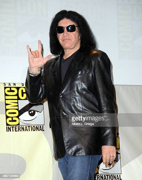 Musician Gene Simmons attends the world premiere of 'ScoobyDoo and KISS Rock and Roll Mystery' during the ComicCon International 2015 at the San...