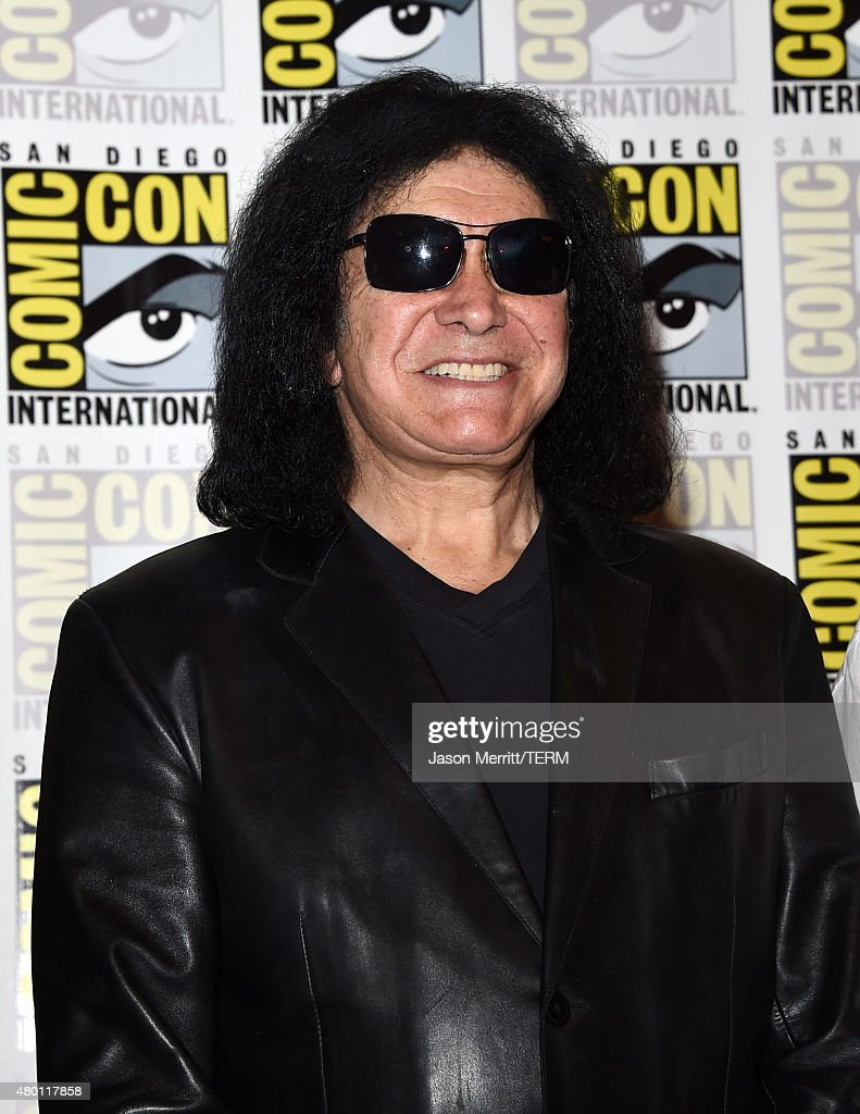 Musician <a gi-track='captionPersonalityLinkClicked' href=/galleries/search?phrase=Gene+Simmons&family=editorial&specificpeople=138593 ng-click='$event.stopPropagation()'>Gene Simmons</a> of Kiss attends the Scooby-Doo! and Kiss: Rock and Roll Mystery Press Room during Comic-Con International 2015 at the at Hilton Bayfront on July 9, 2015 in San Diego, California.