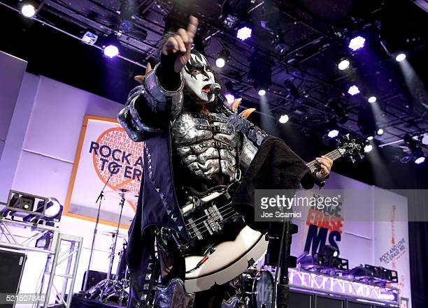 Musician Gene Simmons of KISS performs onstage during the 23rd Annual Race To Erase MS Gala at The Beverly Hilton Hotel on April 15 2016 in Beverly...