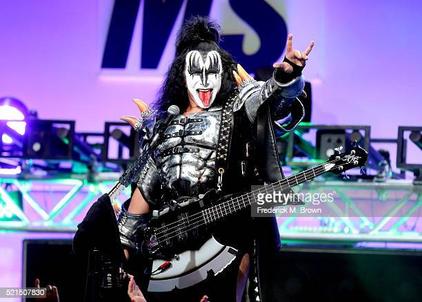 Musician Gene Simmons performs onstage during the 23rd Annual Race To Erase MS Gala at The Beverly Hilton Hotel on April 15 2016 in Beverly Hills...