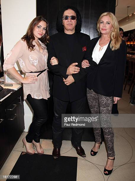 Musician Gene Simmons with daughter Sophie Simmons and wife Shannon Tweed attend the press conference to announce 'Rocktoberfest' at Wolfgang Puck at...