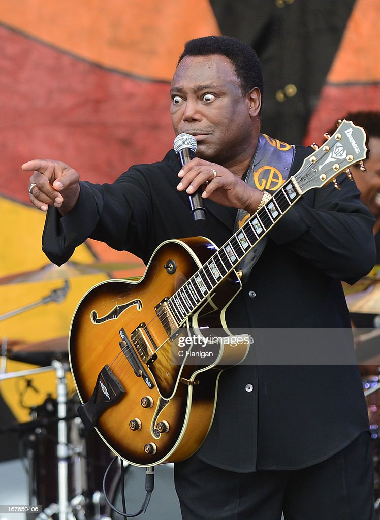 Musician <a gi-track='captionPersonalityLinkClicked' href=/galleries/search?phrase=George+Benson&family=editorial&specificpeople=216570 ng-click='$event.stopPropagation()'>George Benson</a> performs during the 2013 New Orleans Jazz and Heritage Festival at Fair Grounds Race Course on April 26, 2013 in New Orleans, Louisiana.