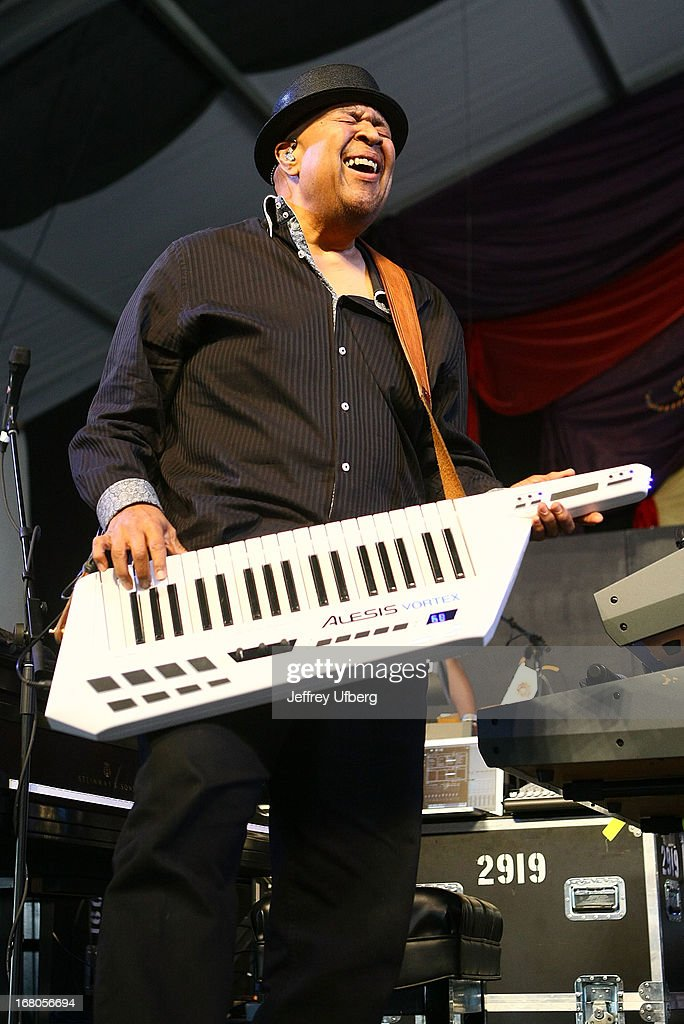 Musician George Duke performs during the 2013 New Orleans Jazz & Heritage Music Festival at Fair Grounds Race Course on May 4, 2013 in New Orleans, Louisiana.