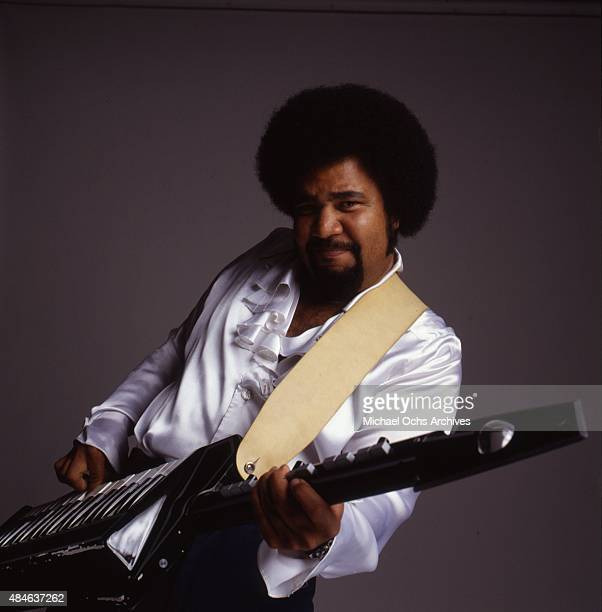 Musician George Duke poses for a portrait session holding a keytar in circa 1984