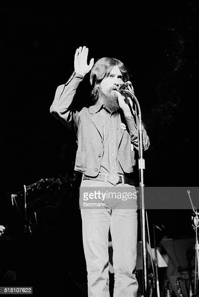 Musician George Harrison performing at Madison Square Garden in Manhattan Capacity crowds of 20000 filled the arena twice to watch the former Beatles...