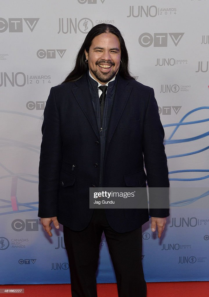 Musician George Leach arrive on the red carpet at the 2014 Juno Awards on March 30, 2014 in Winnipeg, Canada.
