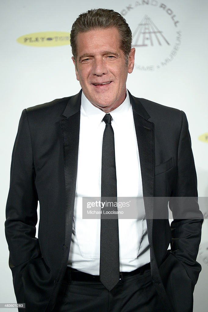 Musician <a gi-track='captionPersonalityLinkClicked' href=/galleries/search?phrase=Glenn+Frey&family=editorial&specificpeople=223995 ng-click='$event.stopPropagation()'>Glenn Frey</a> attends the 29th Annual Rock And Roll Hall Of Fame Induction Ceremony at Barclays Center of Brooklyn on April 10, 2014 in New York City.