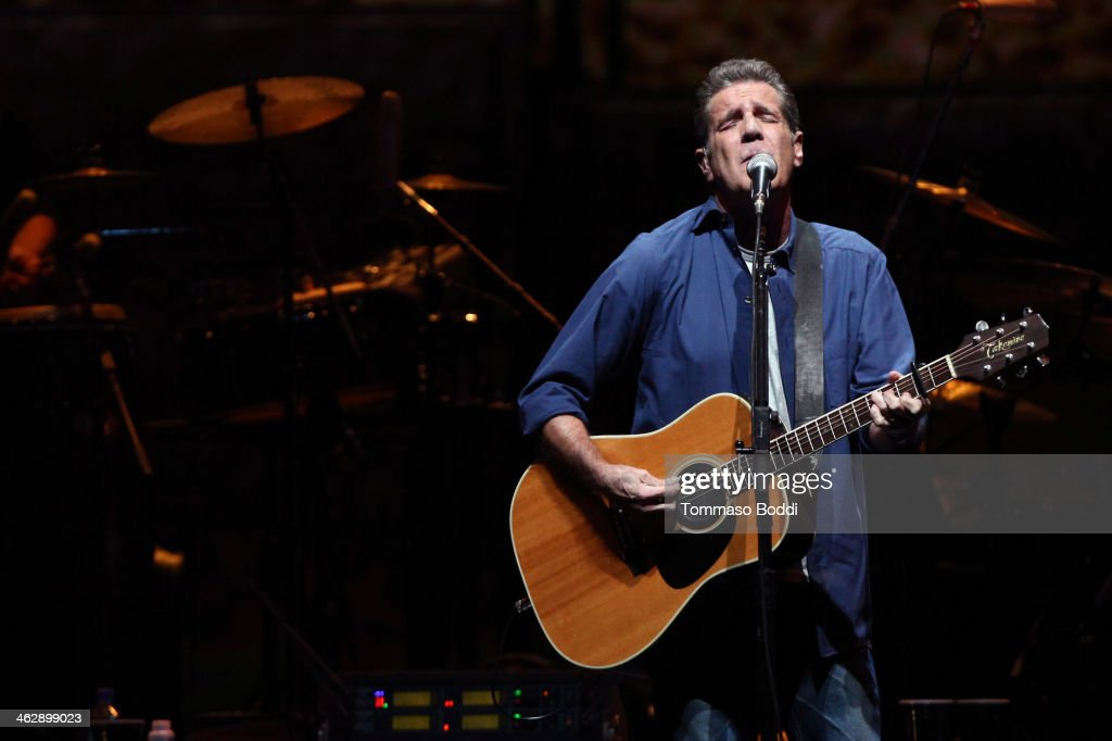 Musician <a gi-track='captionPersonalityLinkClicked' href=/galleries/search?phrase=Glenn+Frey&family=editorial&specificpeople=223995 ng-click='$event.stopPropagation()'>Glenn Frey</a> of The Eagles performs at the grand opening of the newly renovated Forum on January 15, 2014 in Inglewood, California.